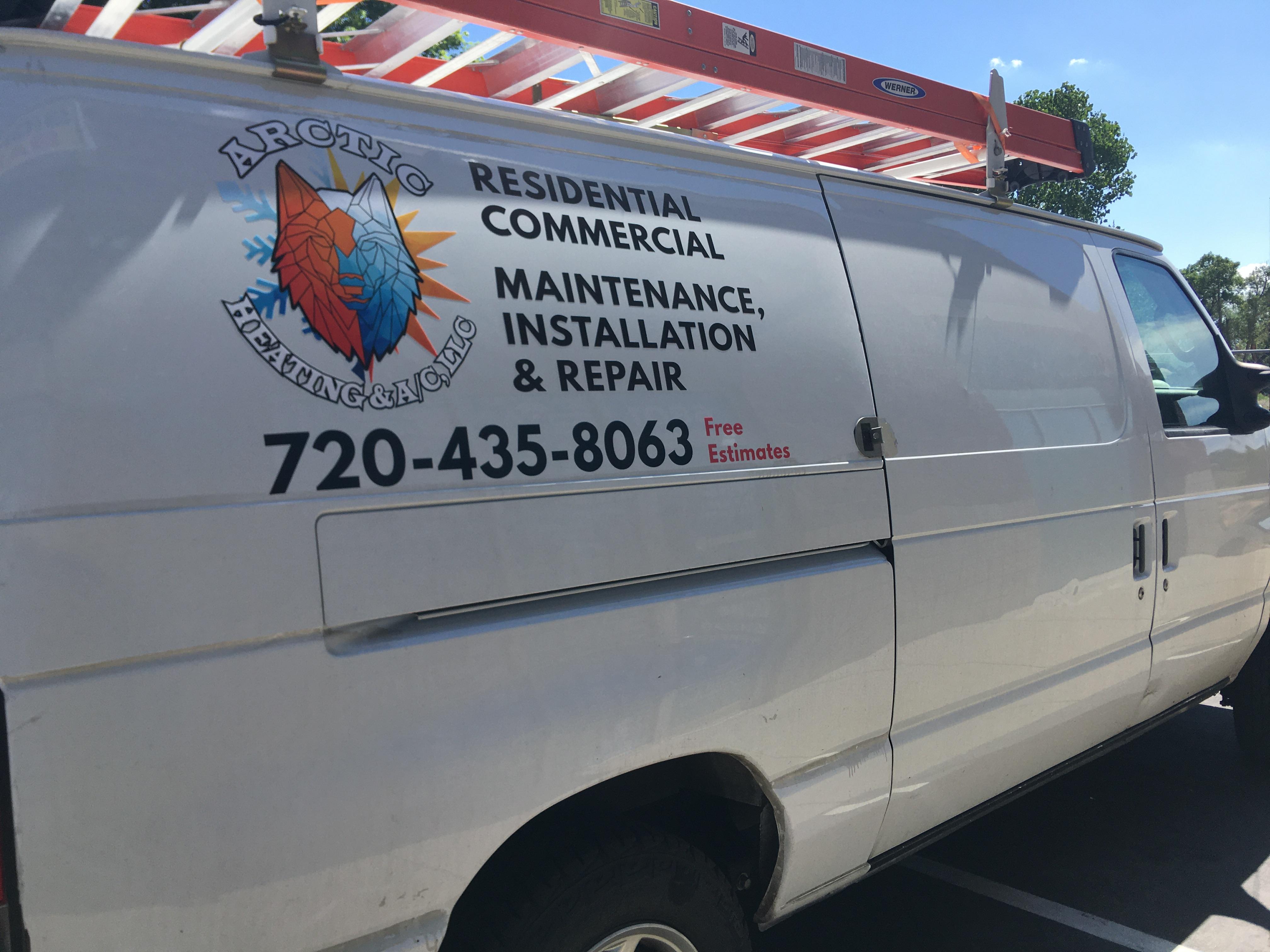 Full Color Logo Simple Vehicle Letterring - Passenger Side of Van