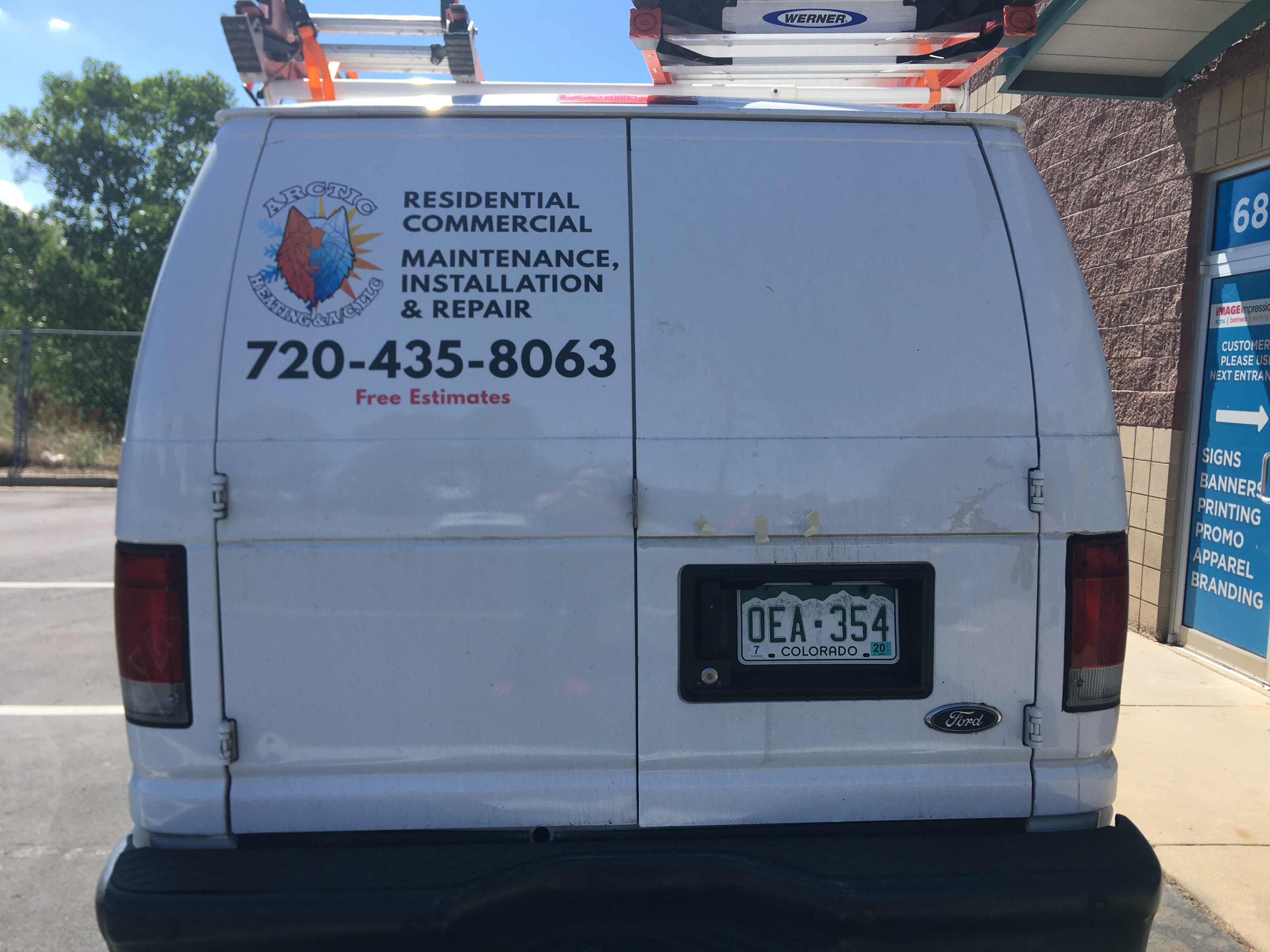Full Color Logo Simple Vehicle Lettering - Back of Van