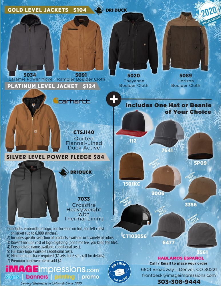 WINTER PACKAGES - EMBROIDERED APPAREL ***SAVE MONEY***